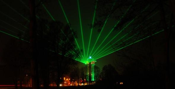Zwolle Koperen Hoogte Waaierpatronen Laserstralen Laser Lasershow