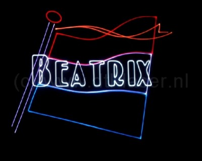Dongen Koningsdag Show Themashow Lasershow Laser Animatie Beatrix Vlag