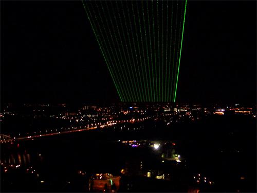 Laserwaaier vanaf kerktoren in Arnhem