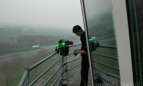 Laser waaier patroon vanaf Koperen hoogte opgesteld