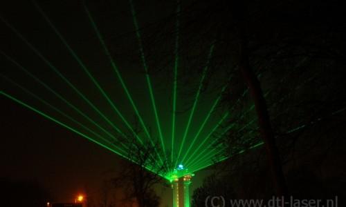Laser waaier patroon vanaf Koperen hoogte