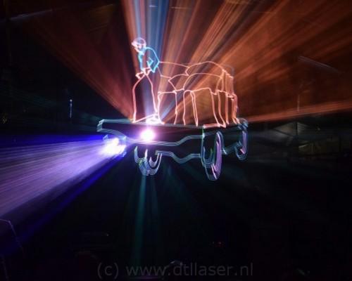 Lasershow, Flight Into History, laseranimatie handkar