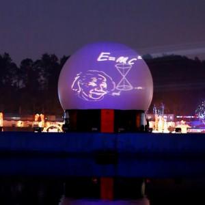 China Deyang Chengdu, Flyboard Nightshow, Chinees Nieuwjaar, Projectiebol, Multimedia show