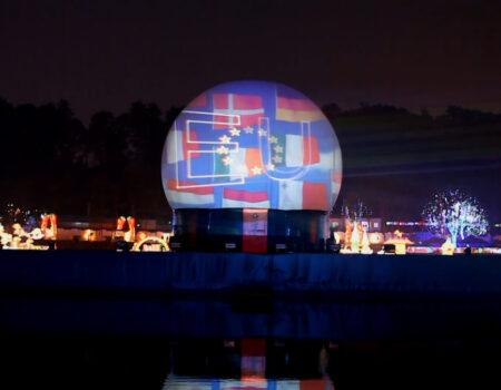 China Deyang Chengdu Flyboard Nightshow Chinees Nieuwjaar Projectiebol Laser Vlaggen