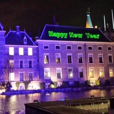 Laserprojectie, Den Haag, Fofvijver,Nieuwjaarsnacht Viering, Laserprojectie, gebouw