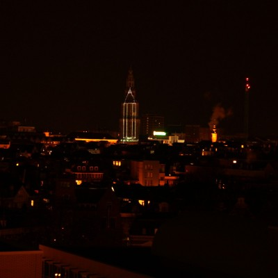 Martinitoren- Potlood -Groningen- Laserprojectie- Je Suis Charly- Skyline