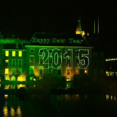 Den Haag Nieuwjaarsnacht Viering Laserprojectie Gebouwen Laser Lasershow