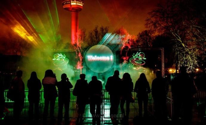 Lasershow ,Multimedia show,Chinalight, Rotterdam, Buitenshow, cirkel,rond, projectiescherm