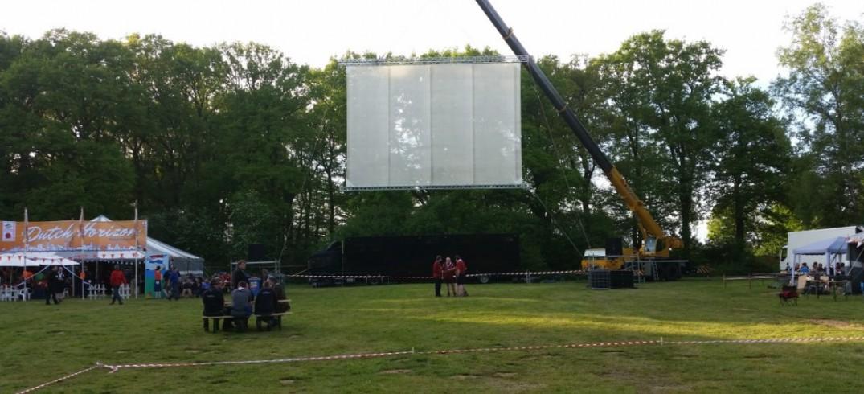 Projectie scherm, Gaas scherm, laserprojectie, opgehangen in kraanwagen voor lasertruck