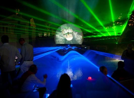 Multimediashow ,Monaco, Laserprojectie, videoprojectie, Projectiebol, Lasershow