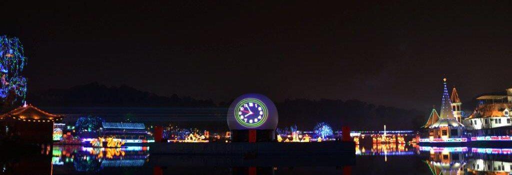 Flyboard Nightshow China, Laserprojectie, Projectiebol, Laserprojectie op projectiebol
