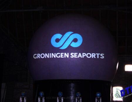 Eemshaven Groningen Seaports Nieuwjaarsreceptie Laserprojectie Projectiebol Laser Lasershow Logo