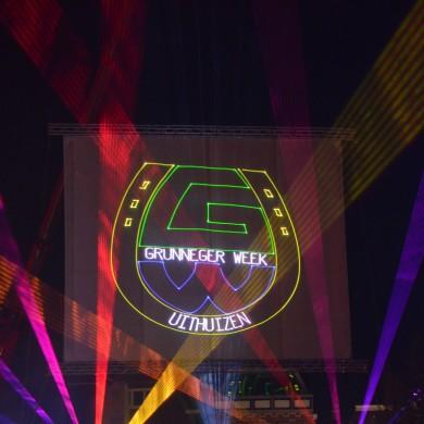 Laserprojectie,lasershow, Grunniger Week, Groningerweek, laserprojectie, Gaasscherm, Projectie