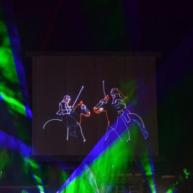 Grunniger Week Uithuizen Projectiescherm Gaasscherm Projectie Laser Lasershow