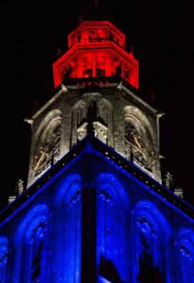 Martinitoren, 5 mei ,rood wit blauw