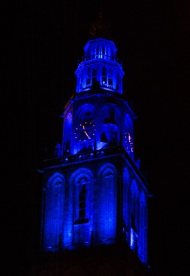 Martinitoren aanlichten, torens, Blauw