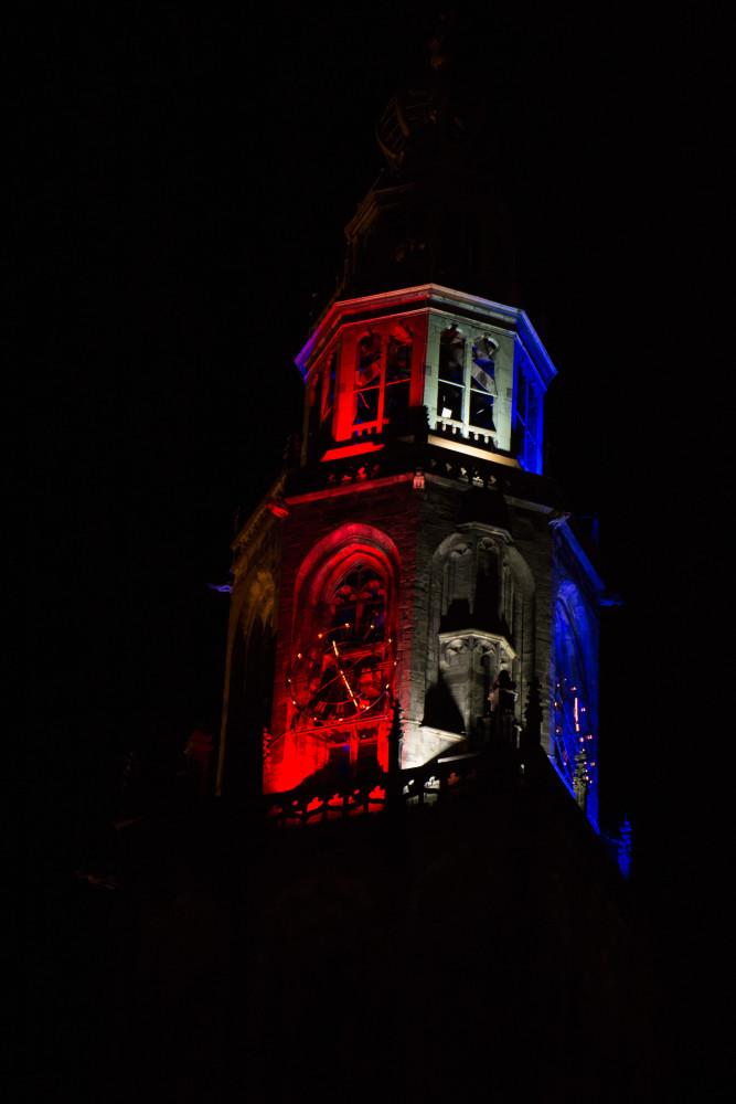 Martinitoren, Uitlichten, Toren, Rood Wit blauw ,verticaal