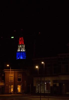 Martinitoren,verlicht ,5 mei foto op afstand