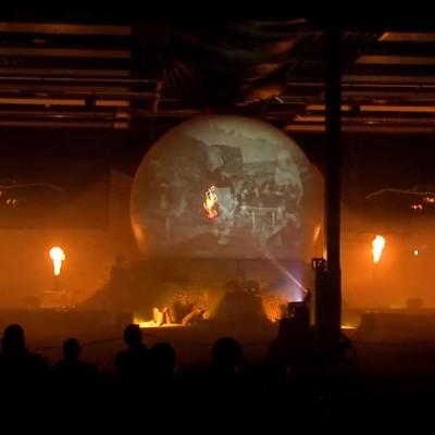 Multimedia Show Laser Lasereffecten Zuidlaren Sculpturepark Projectiebol Vuur Projectie