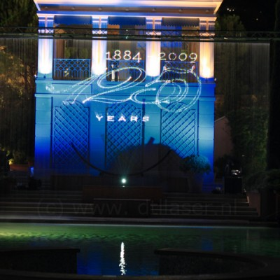 Monaco Royal Huisman, Waterscherm, Watergordijn, Laserprojectie, vallend waterscherm