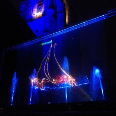 Leeuwarden,laser animatie, zeilboot, projectie op waterscherm, vallend watergordijn