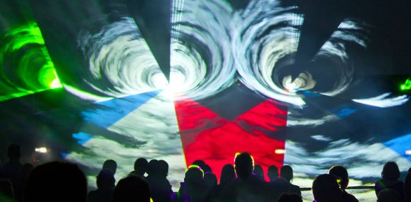 Lasershow met full color lasers