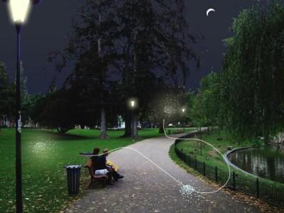 Laserprojectie van vuurvliegjes Kronenburgpark Nijmegen