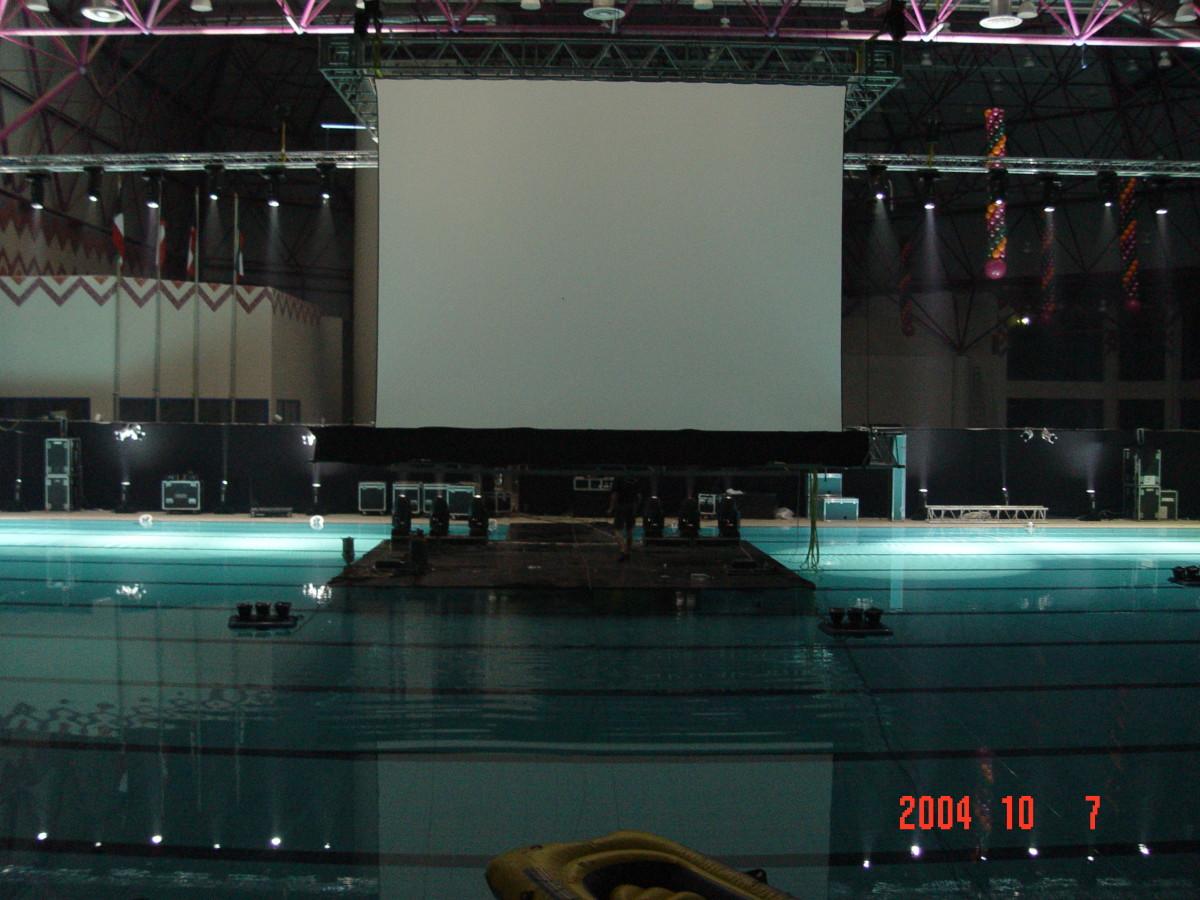 Koeweit Projectiescherm Opzicht Projectie Zwembad Opening