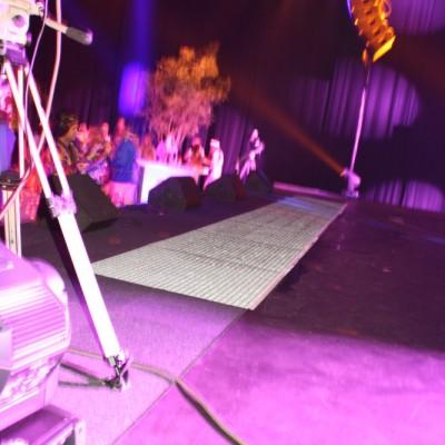Waterscherm,Roosters in podium waterscherm, wateropvangbak onder podium