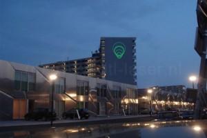 Laserprojectie op Florijnflat Amsterda, Laserprojectie, gebouw, vaste laserprojectie, opstelling