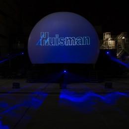 laserprojectie ,Huisman Equipment Schiedam, Projectiebol,laserprojectie op projectiebol