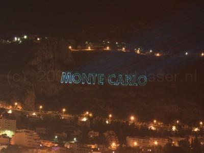 Monaco,Monte Carlo, Laserprojectie, laserprojectie op berg,,Lasershow
