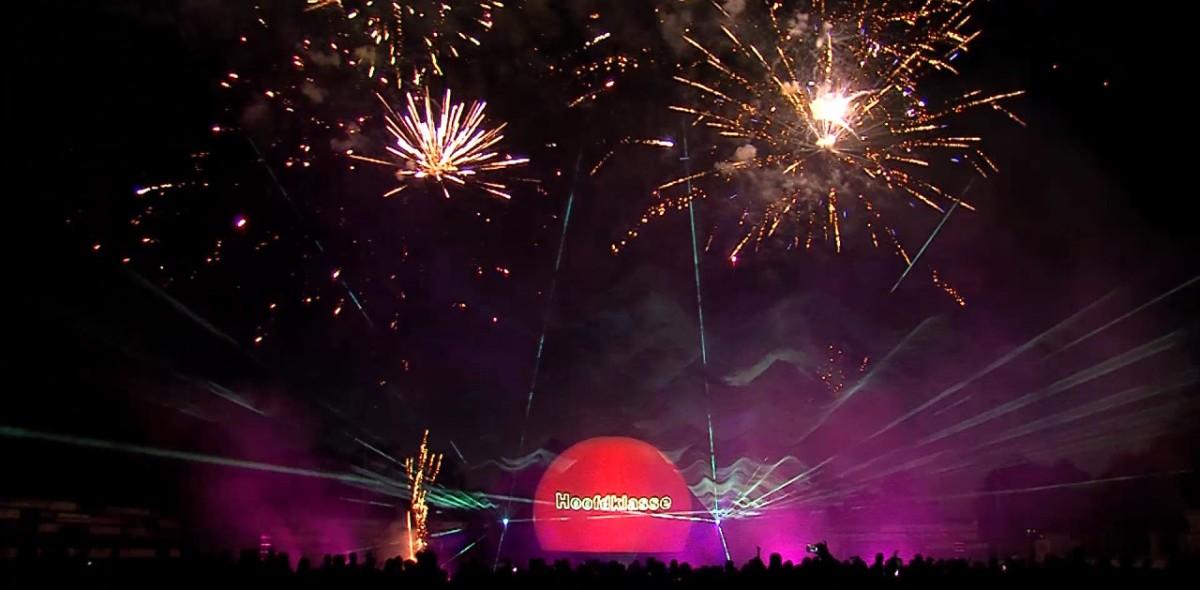 Multimedia lasershow Sportclub Silvolde met vuurwerk