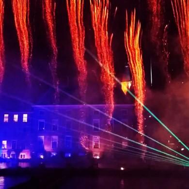 Lasershow met vuurwerk Staatsloterijshow-Den-Haag-Oudjaarsnacht