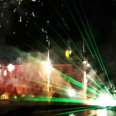 lLasershow met vuurwerk Staatsloterijshow-Den-Haag-Oudjaarsnacht