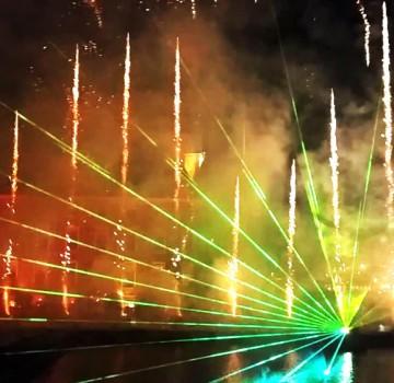 Lasershow, vuurwerk, Den Haag, Hofvijver , oud en nieuw, staatsloterijshow, laserprojectie, projectie winaars