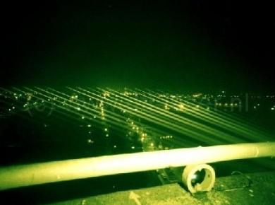 Watertoren Stadskanaal Waaierpatroon Laserstralen Laser Lasershow