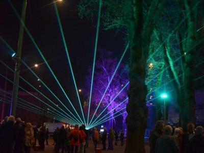 Emmen Marktplein Opening Uitlichten Park Bomen Laser Lasershow Lasereffect