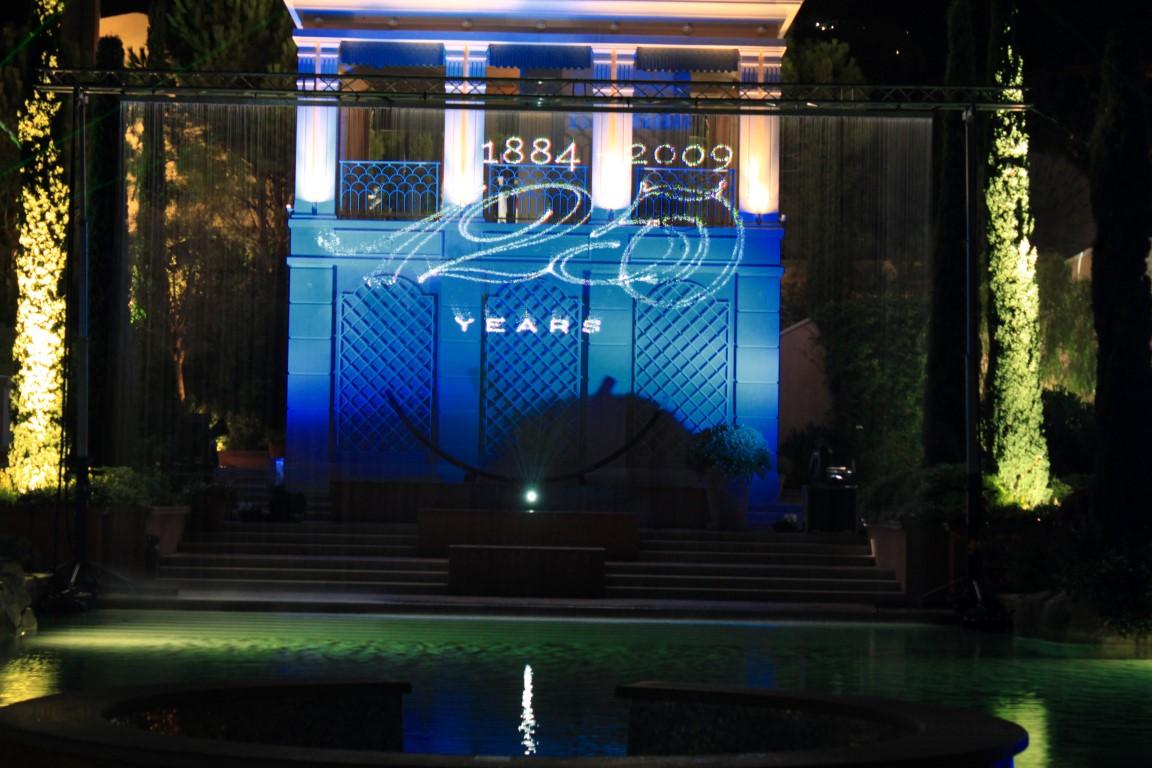 Monaco Waterscherm laserprojectie Royal Huisman 125 jaar