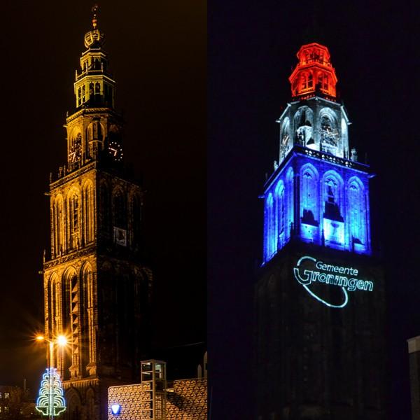 Martinitoren, licht, laserprojectie