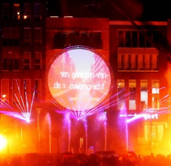 Veenendaal opening Brouwergracht lasershow