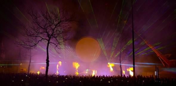 Cascaderun Lasershow flames