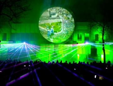 Multimedia show Cascaderun Hoogeveen uitlichten gebouw